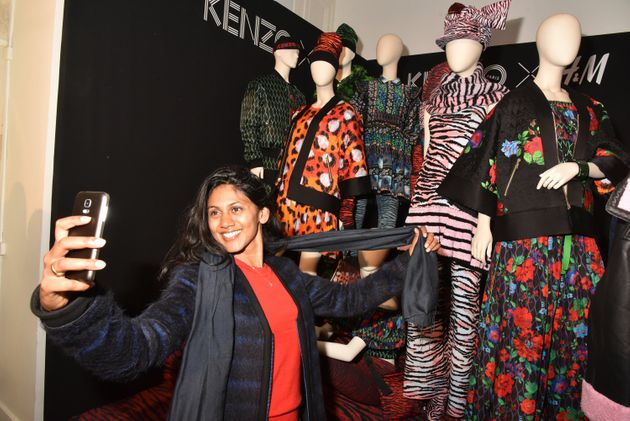 A guest attends the private Kenzo x H&M Paris launch party in Paris on Wednesday 2