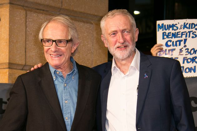 Ken Loach (left) with Jeremy Corbyn (right) at the premiere of I, Daniel Blake in