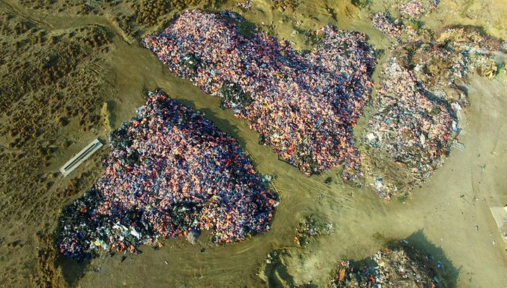"""Called the """"graveyard of life vests,"""" the aerial view of this site located about 45 minutes from Skala Sikamineas"""