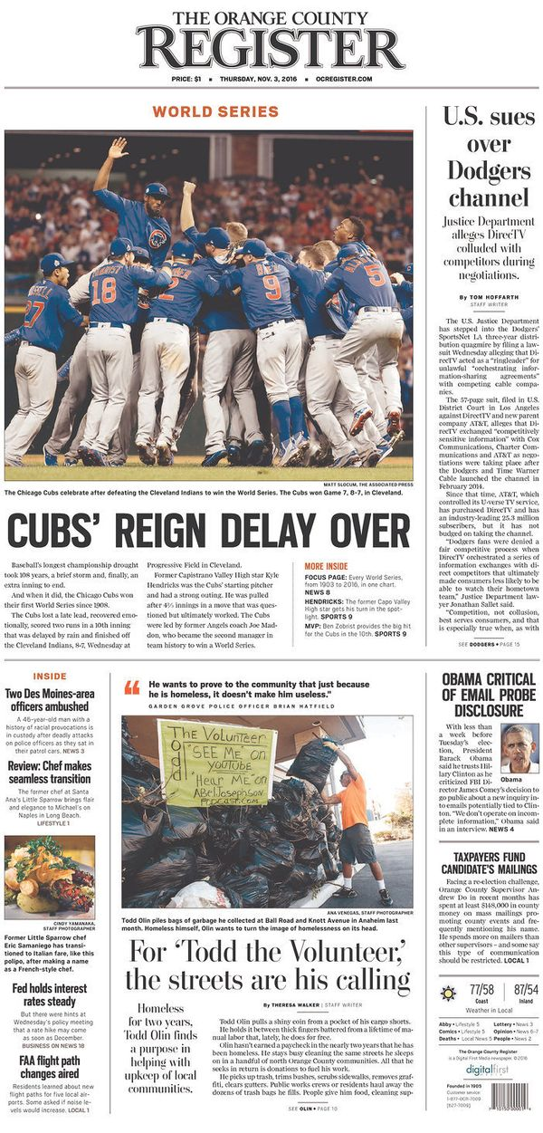 The West Coast paper gets an A+ for its punny headline that gives a nod to the heartstopping rain delay that set fans o