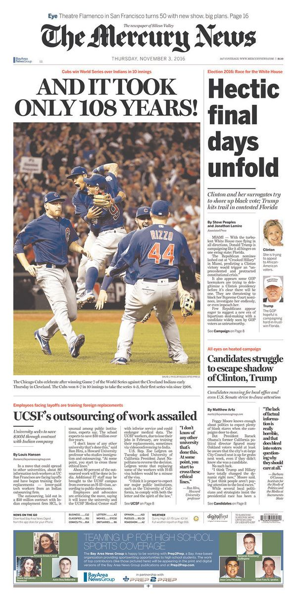 OK, we get it Mercury News: It took a long freaking time for the Cubs to win again.