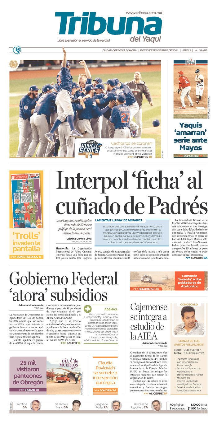 The Cubs victory made news in La Tribuna del Yaqui in the Mexican state of Sonora.