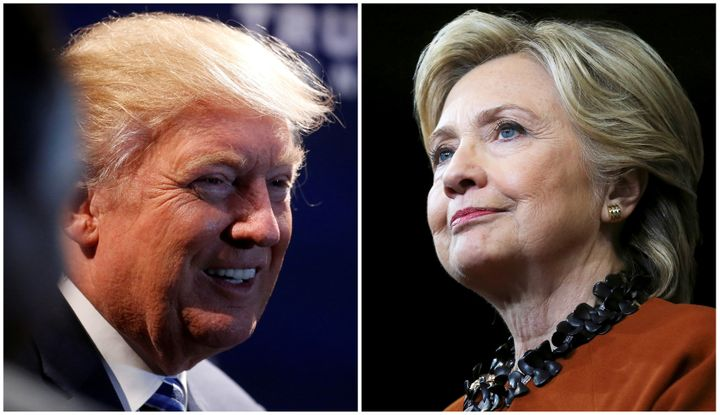 A combination photo shows Donald Trump (L) at a campaign event in Charlotte, North Carolina on October 26, 2016 and Hillary C