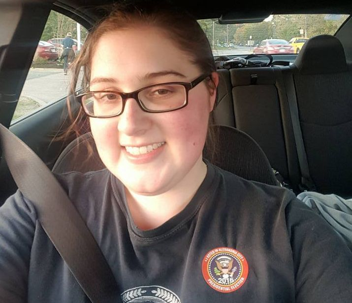 "<p>Selfie with my ""I Voted"" sticker, following early voting in Alexandria, VA on Nov. 2</p>"