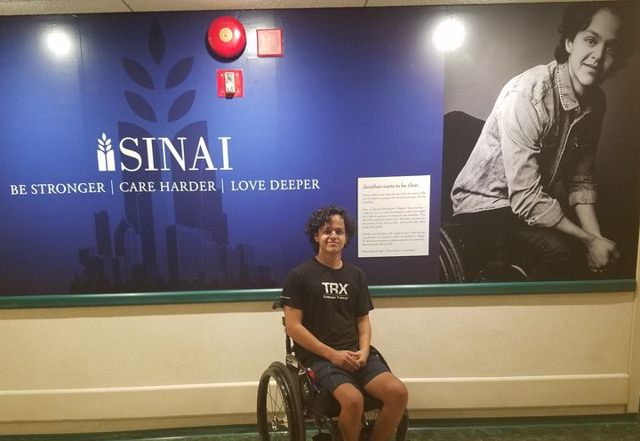 Jonathan Annicks, recovering from a random gun shot that left him paralzyed.