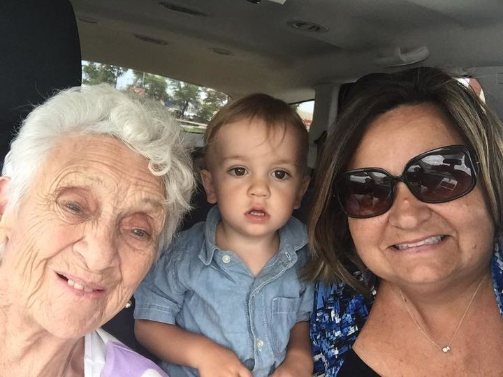 Mary Hendry (right), her mother and her grandson.
