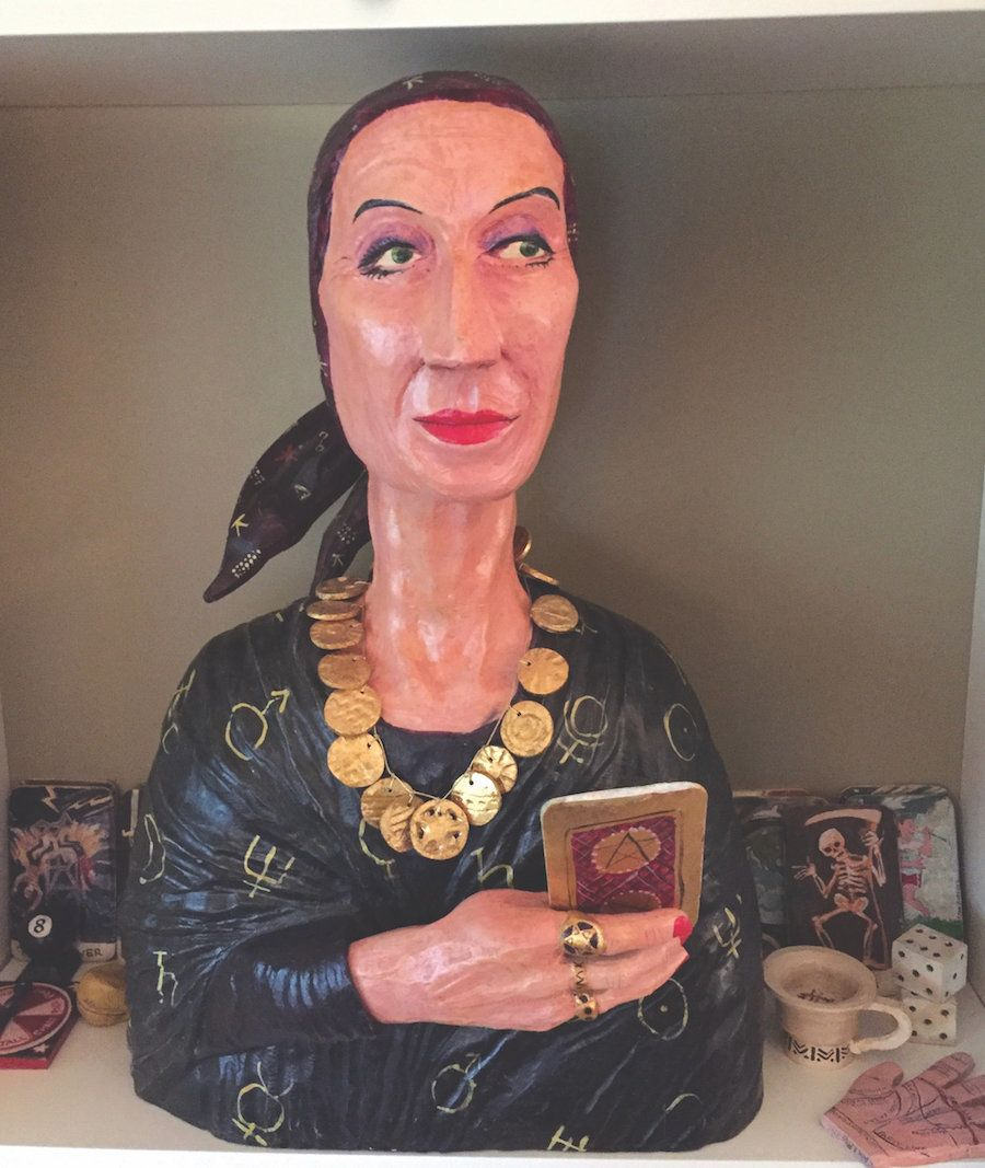 "Connie Roberts, ""Gypsy Lady Head,"" 1998, carved and painted wood"