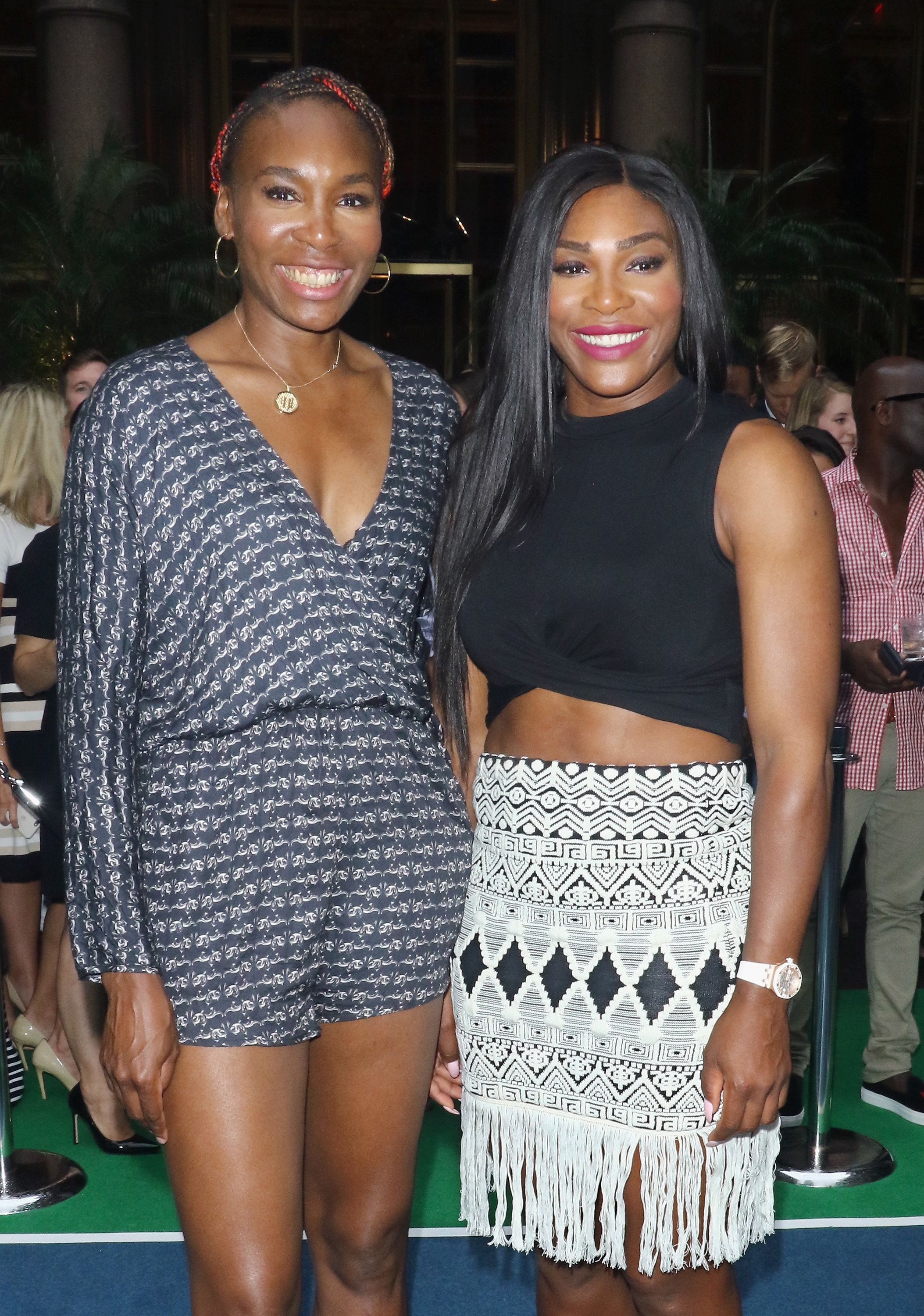 NEW YORK, NY - AUGUST 25:  Tennis players Venus Williams and Serena Williams attend the Virtual Tennis Tournament hosted by Rafael Nadal at Lotte New York Palace on August 25, 2016 in New York City.  (Photo by Jim Spellman/WireImage)