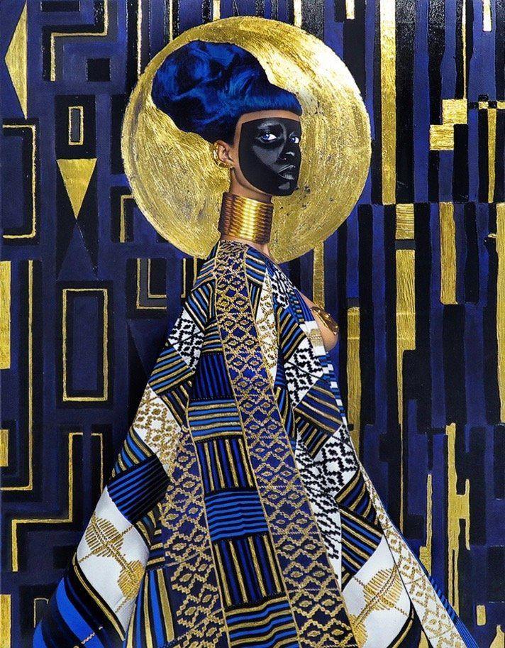 "Lina Iris Viktor, ""Syzygy,"" 2015, 24-karatgold, acrylic and gouache, print on matte canvas"