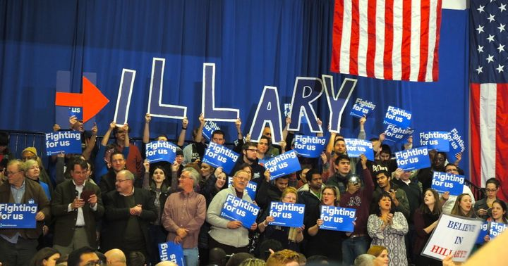 Clinton supporters at an event on the night of the New Hampshire Primary, February 9th.