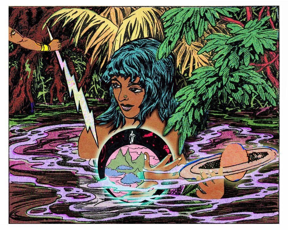 "Chitra Ganesh, ""Girl, Water, Globe,"" 2016, light jet print"