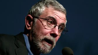 """Lecture by Nobel Prize winner economist Paul Krugman in Athens on """"Europe: What next?. Invited by the Research Institute of Policy and Strategy for Development and Governance (ADGI-INERPOST). At the Athens Megaron on Friday, April 17, 2015 (Photo by NurPhoto/NurPhoto via Getty Images)"""