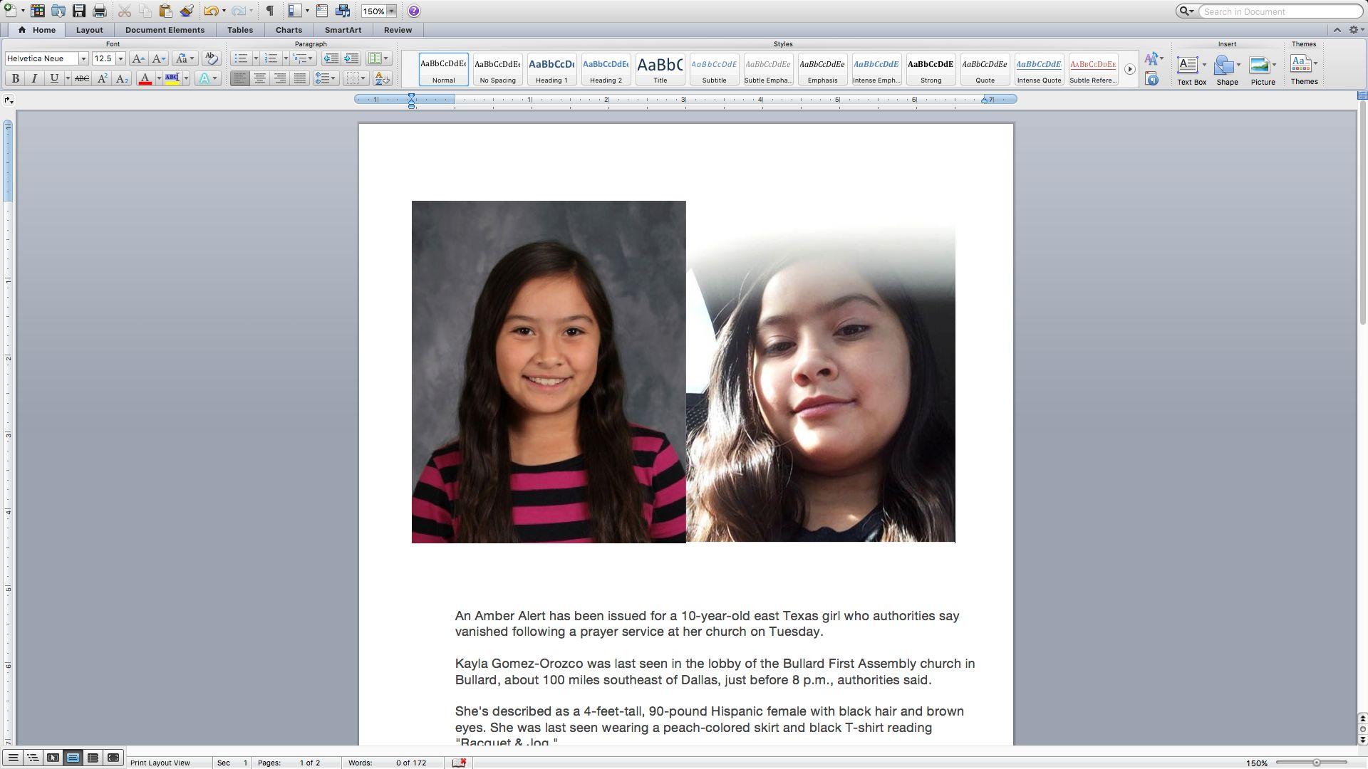 Kayla was last seen wearing a peachcolored skirt and black Tshirt reading Racquet  Jog