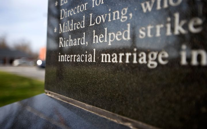 A monument in Bowling Green, Virginia, honors the Lovings.