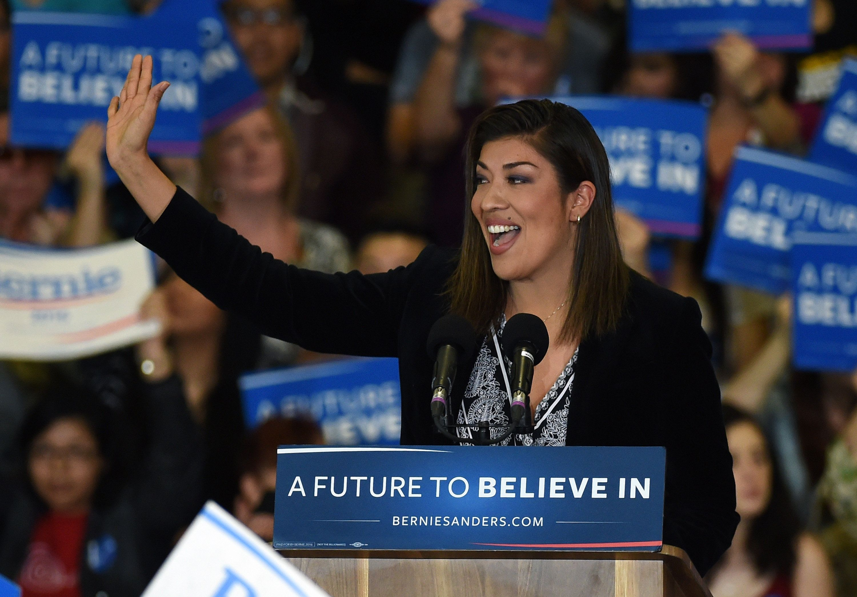 LAS VEGAS, NV - FEBRUARY 14:  Democratic congressional candidate Lucy Flores speaks at a campaign rally for Democratic presidential candidate Sen. Bernie Sanders (D-VT) at Bonanza High School on February 14, 2016 in Las Vegas, Nevada. Sanders is challenging Hillary Clinton for the Democratic presidential nomination ahead of Nevada's February 20th Democratic caucus.  (Photo by Ethan Miller/Getty Images)
