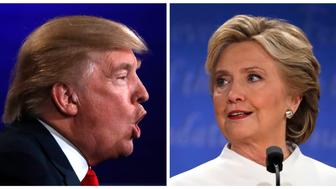 A combination photo shows Republican U.S. presidential nominee Donald Trump (L) and Democratic presidential nominee Hillary Clinton during their third and final debate at UNLV in Las Vegas, Nevada, U.S. on October 19, 2016.   REUTERS/Carlos Barria
