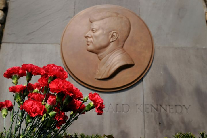 Roses are seen at the John F. Kennedy Memorial on August 26, 2009 in Hyannis, Massachusetts.