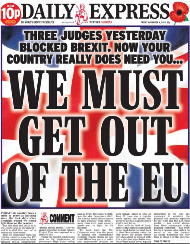 The Daily Express' front