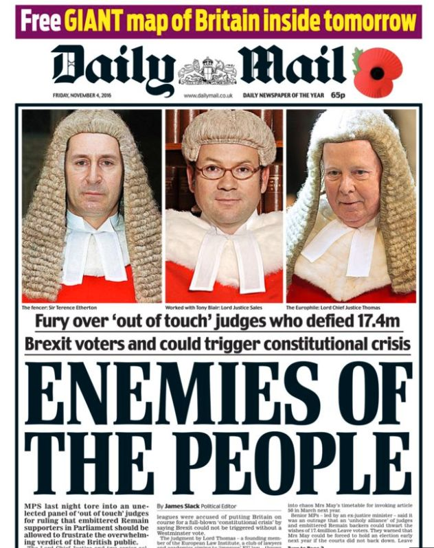 How the Daily Mail reported three High Court judges ruling parliament had to be consulted before Article...