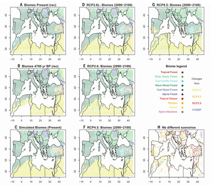 Guiot and Cramer's maps of the Mediterranean Basin under various warming scenarios. The map labeled D shows the approximate 1