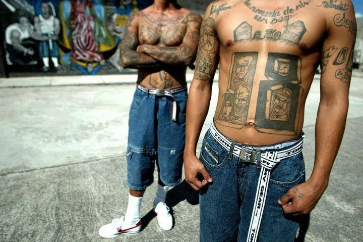 Unidentified gang members of the Mara Salvatrucha are pictured.