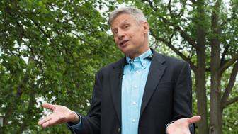 US Libertarian Party presidential candidate Gary Johnson speaks to AFP during an interview in Washington, DC, on May 9, 2016. Former New Mexico Gov. Gary Johnson is running for president as a Libertarian, just as he did 2012 when he managed to get 1.2 million votes. Regardless of his chances of a win, Johnson is reaching out to undecided Republican voters who are looking for a third-party option and are unconvinced that Donald Trump is the answer. / AFP / Nicholas KAMM        (Photo credit should read NICHOLAS KAMM/AFP/Getty Images)