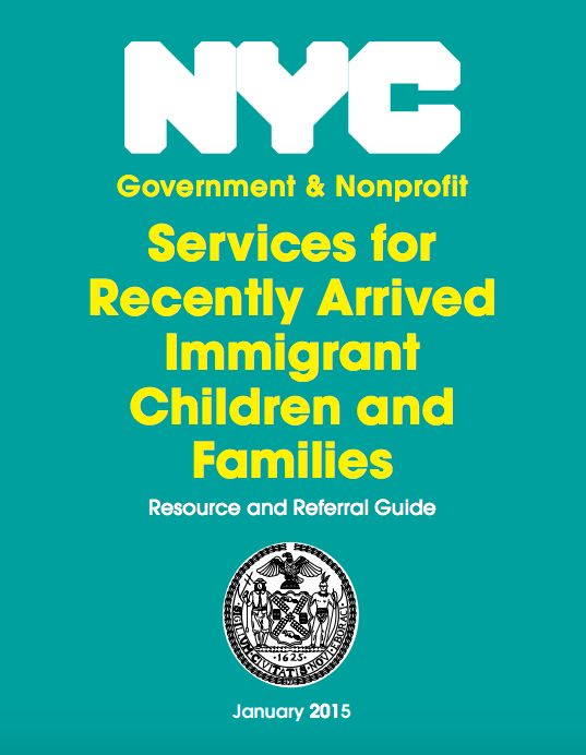 Cover of the guidebook published by the Mayor's Office for Immigrant Affairs in January 2015, after the first surge of