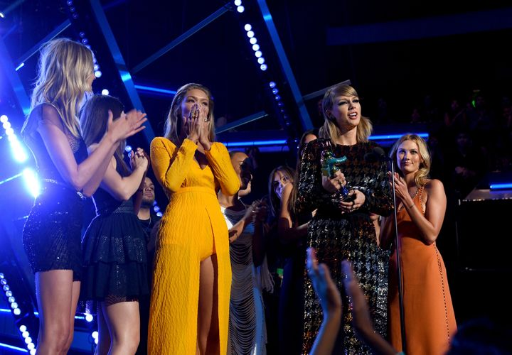 "Taylor Swift accepting her ""Bad Blood"" VMA in August 2015, peak #squadgoals days."
