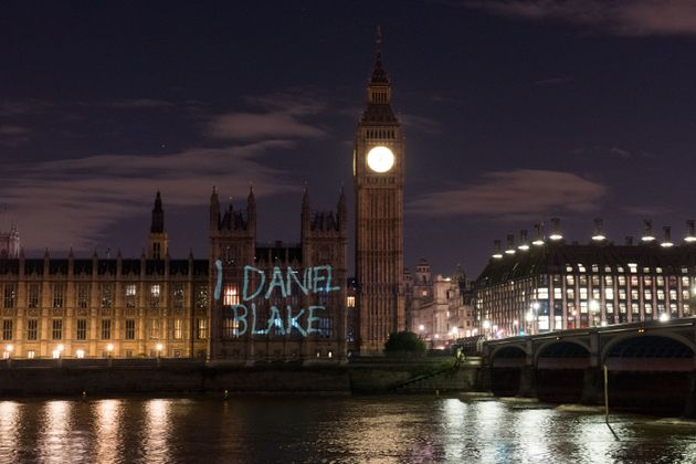'I, Daniel Blake' is projected on to the Houses of Parliament just before the film premiered in