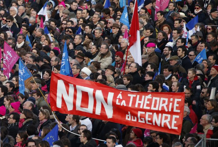 "French protestors say ""No to gender theory"" at a 2014 march."