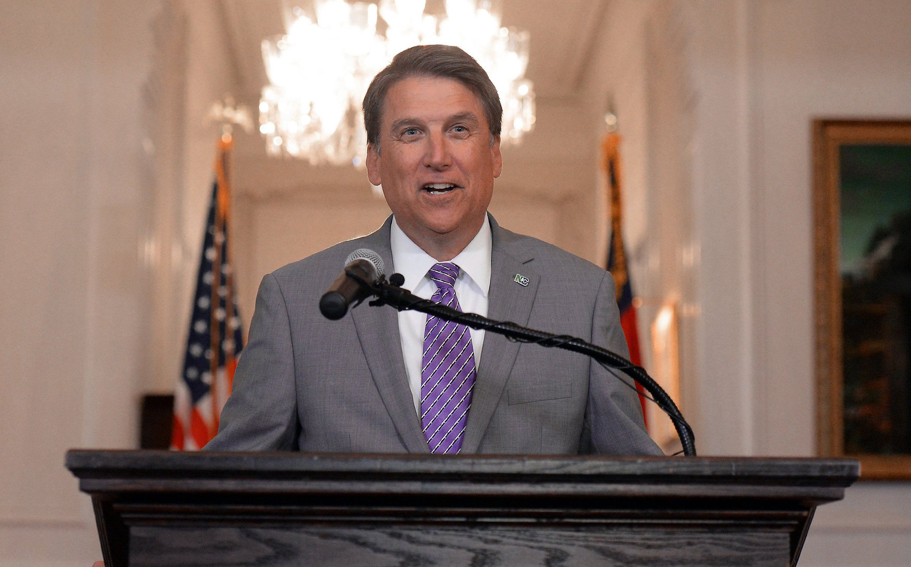 N.C. Gov. Pat McCrory speaks to the media Monday, May 9, 2016. He was announcing he has filed a lawsuit asking a federal court to determine that the controversial House Bill 2 is not illegally discriminatory. (Chuck Liddy/Raleigh News & Observer/TNS via Getty Images)