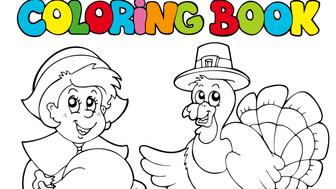 Coloring book Thanksgiving theme - isolated illustration.