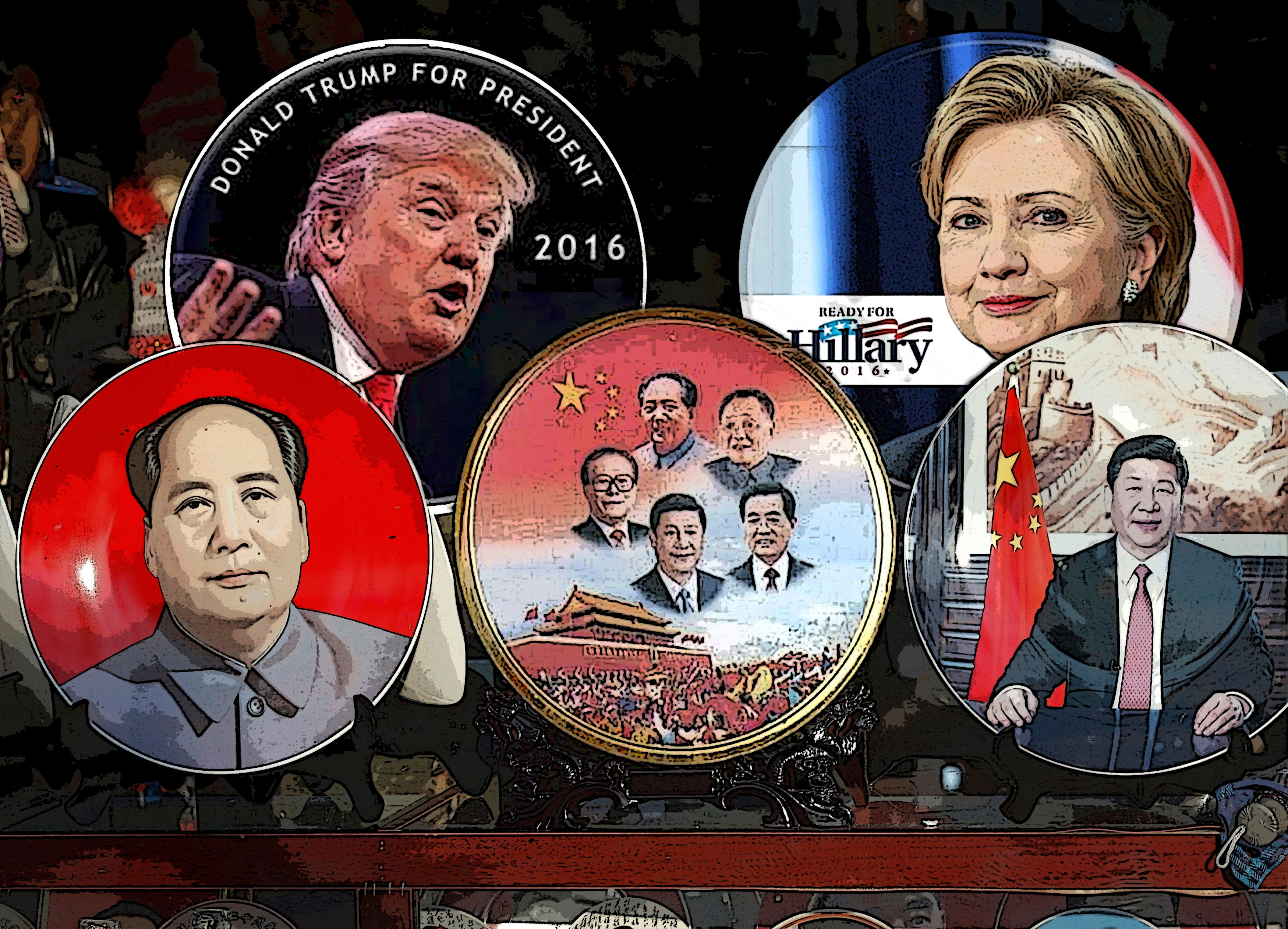 Plates and pins of Chinese leaders and US hopefuls