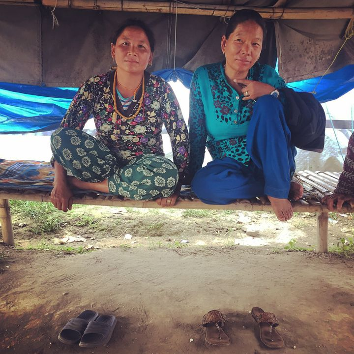 <p>Mingmar Sherpa and Dawa Doma Sherpa in the main gathering tent of the refugee camp in Kathmandu, Nepal. 18 months after the earthquake destroyed their village, Phulping. </p>