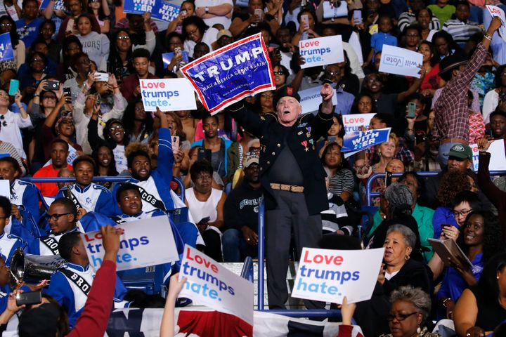 A Donald Trump supporter disrupted remarks by President Barack Obama at a rally Friday for Hillary Clinton in Fayet