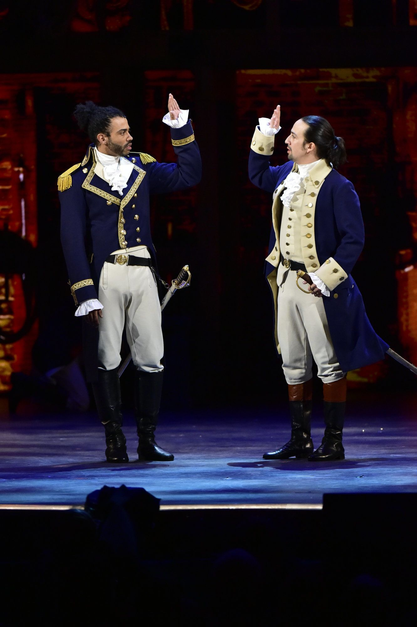 NEW YORK - JUNE 12: Daveed Diggs, Lin-Manuel Miranda and the cast of Hamilton at THE 70TH ANNUAL TONY AWARDS, live from the Beacon Theatre in New York City, Sunday, June 12 (8:00-11:00 PM, live ET/ delayed PT) on the CBS Television Network. (Photo by John Paul Filo/CBS via Getty Images)
