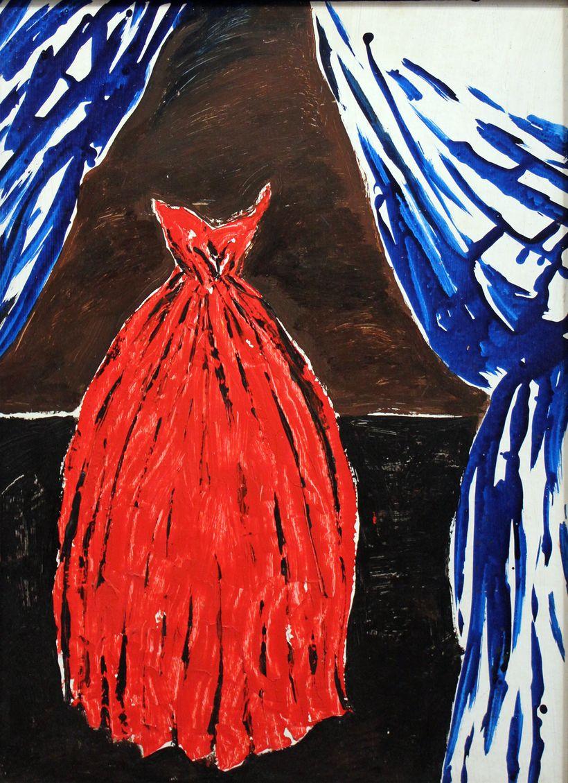 Raymond Pettibon. No Title (Red Dress), 1991. Oil on panel.