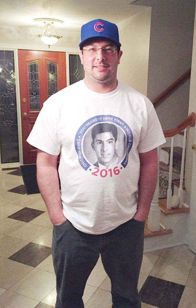 Michael Lee wearing a T-shirt featuring his yearbook photo that features his now-famous prediction the...