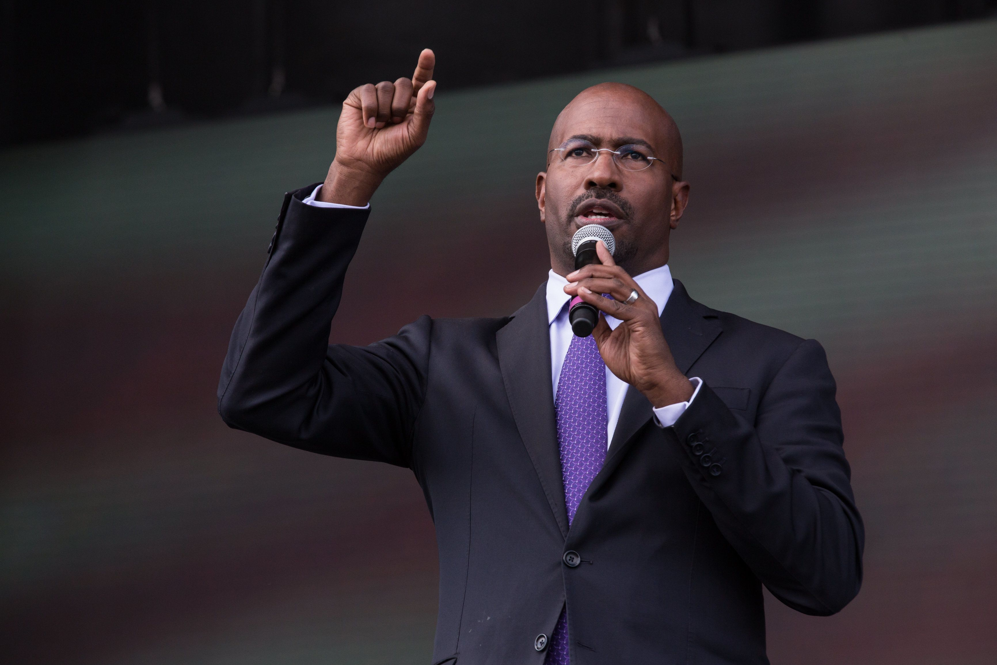 Political activist/commentator Van Jones speaks onstage at 2016 Many Rivers to Cross Festival at Bouckaert Farm on October 1, 2016 in Fairburn, Georgia. (Photo by Cheriss May/NurPhoto via Getty Images)