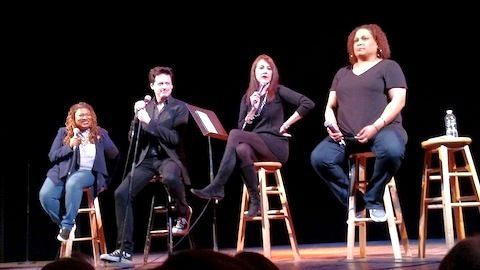 Sexy Liberal Comedy Tour starring: Frances Callier, John Fugelsang, Stephanie Miller and Angela V. Shelton (L to R)