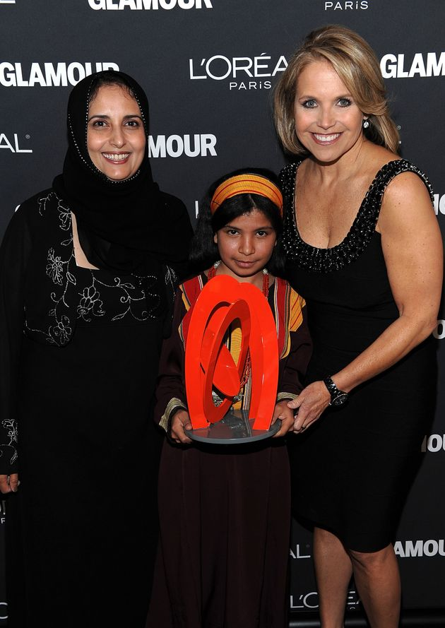 Shada Nasser, Nujood Ali and Katie Couric at the Glamour Awards in
