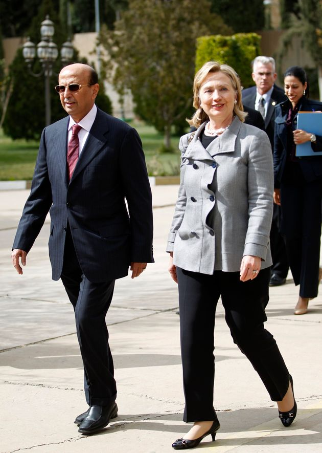 Hillary Clinton with Yemen's then-foreign minister during her visit to the country's capital, Sanaa,...