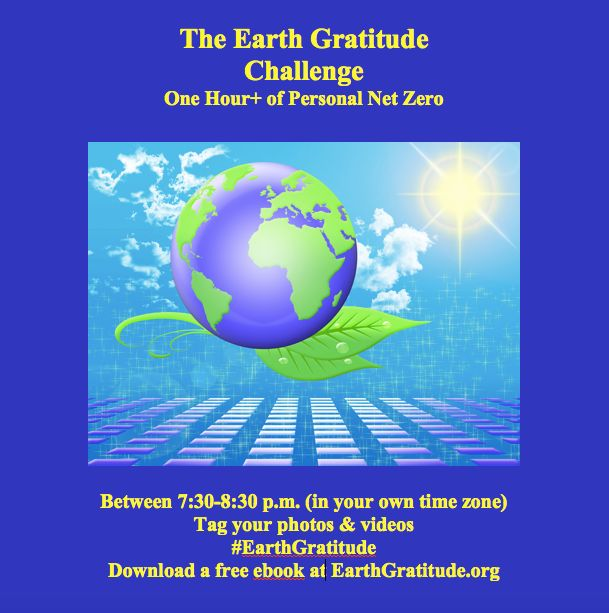 Take the Earth Gratitude Challenge. One hour+ of personal net zero on the Supermoon, on Thanksgiving and on Earth Day (April