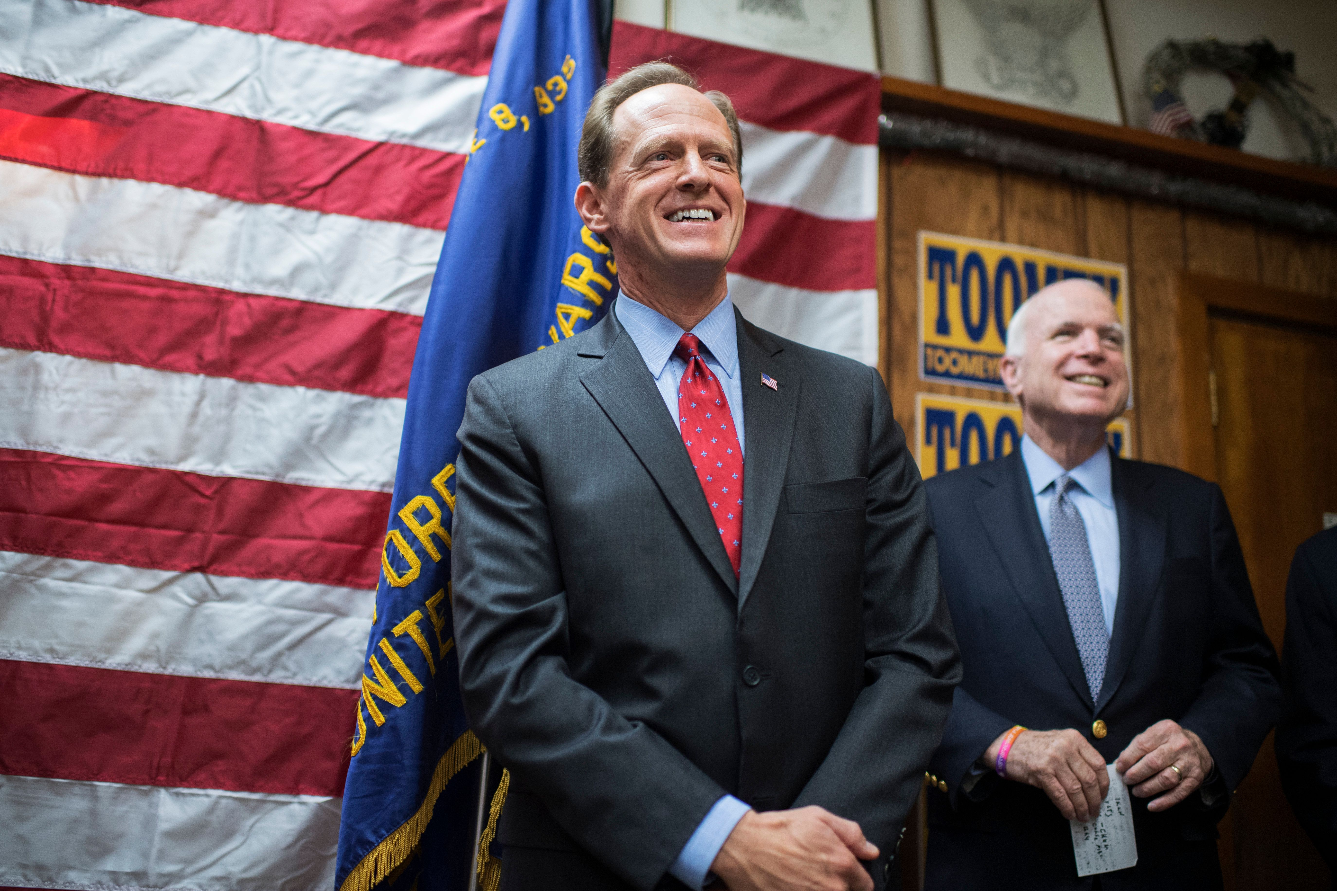 UNITED STATES - SEPTEMBER 23: Sens. Pat Toomey, R-Pa., left, and John McCain, R-Ariz., attend a campaign event for Toomey at the Herbert W. Best VFW Post 928 in Folsom, Pa., September 23, 2016. (Photo By Tom Williams/CQ Roll Call)