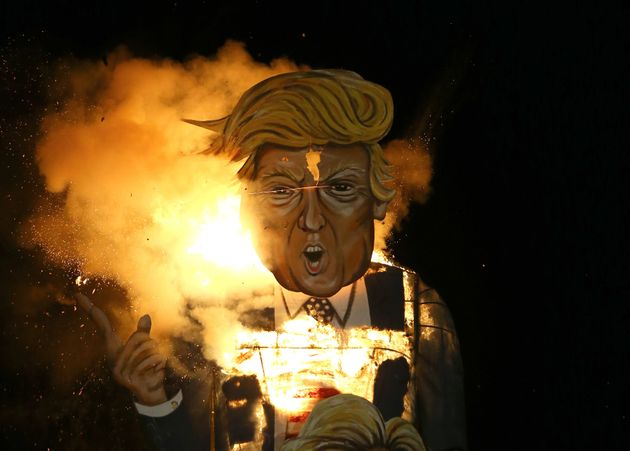 A model of Donald Trump was burned at a fireworks display in Edenbridge, 30 miles south of London, on...