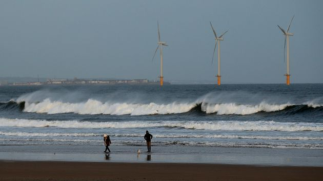An offshore wind farm in Redcar, northeast England, on Jan. 11,