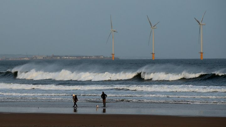 An offshore wind farm in Redcar, northeast England, on Jan. 11, 2015.