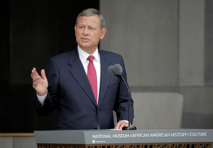 U.S. Supreme Court Chief Justice John Roberts speaks at the dedication of the Smithsonian's National Museum of African