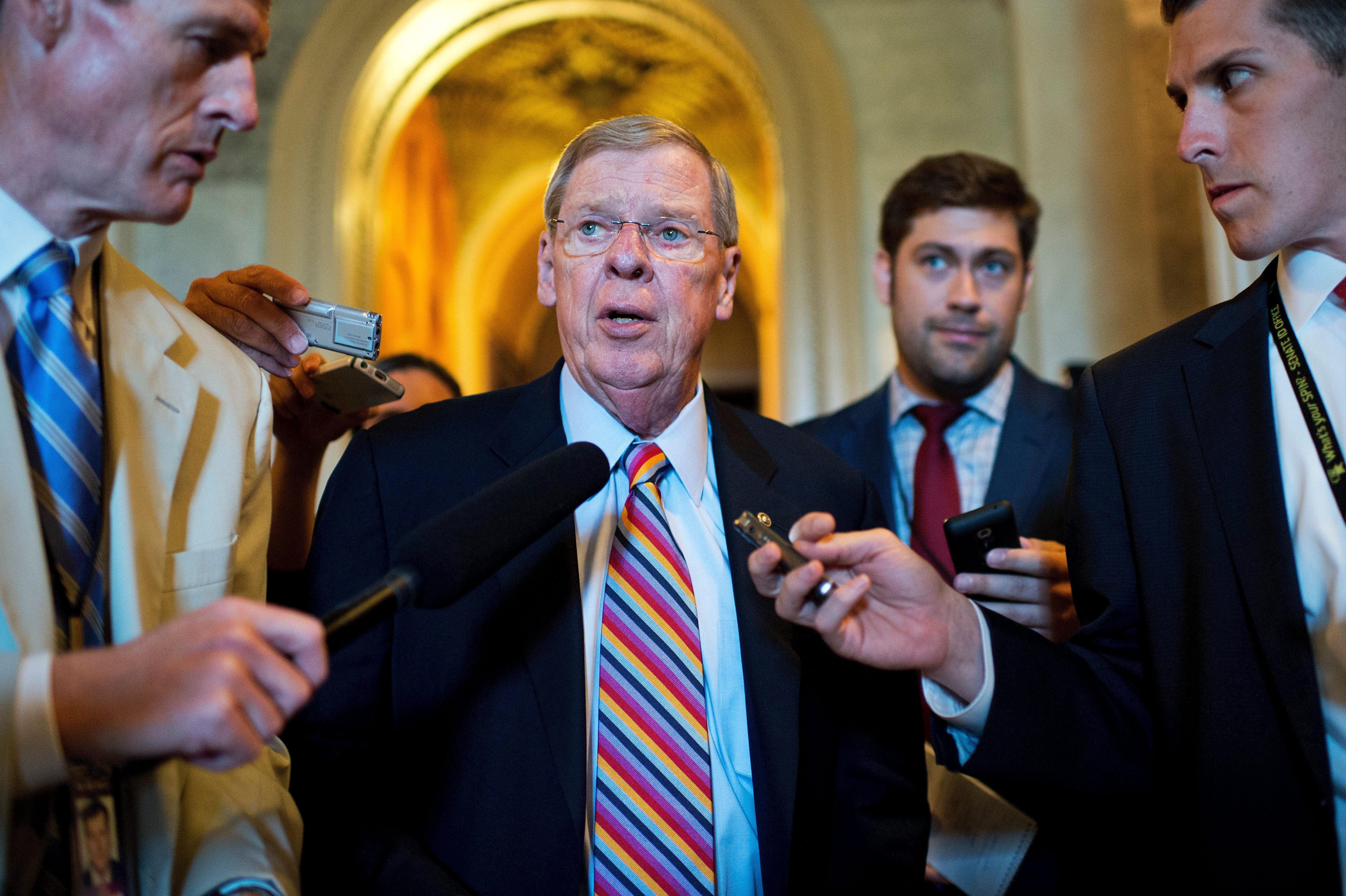 UNITED STATES - JUNE 23: Sen. Johnny Isakson, R-Ga., leaves the Senate Policy luncheons in the Capitol, June 23, 2015. (Photo By Tom Williams/CQ Roll Call)