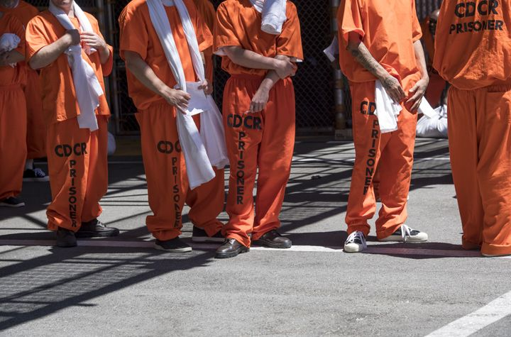 Inmates stand outside at San Quentin State Prison in San Quentin, California, Aug. 16, 2016. San Quentin is home to the state
